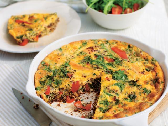 Salmon and quinoa frittata