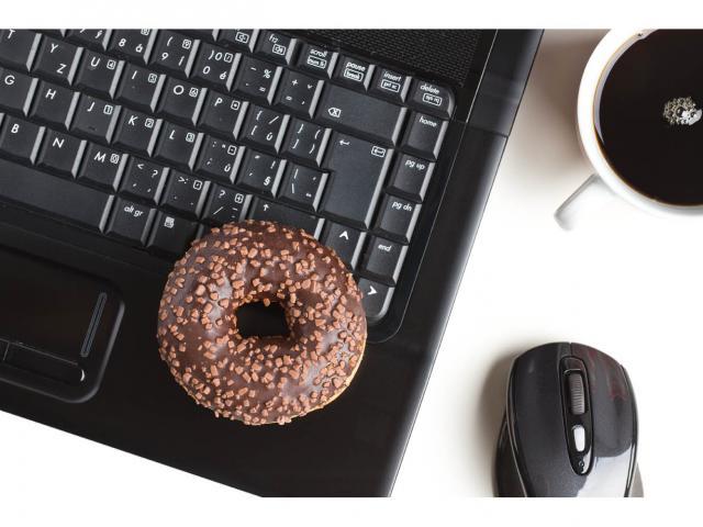 Shutterstock donut on computer