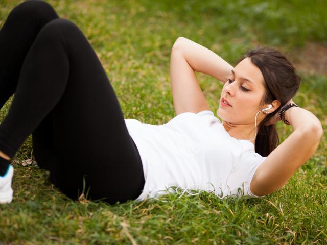 Shutterstock woman sit up music