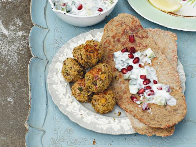Lentil Falafel with Buckwheat Flatbreads Recipe