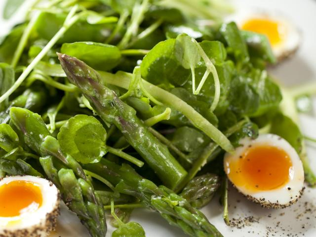 Asparagus with peppered soft boiled quails eggs, watercress and british wasabi dressing