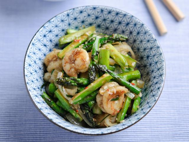 British asparagus, chilli, lemongrass and prawn stir fry