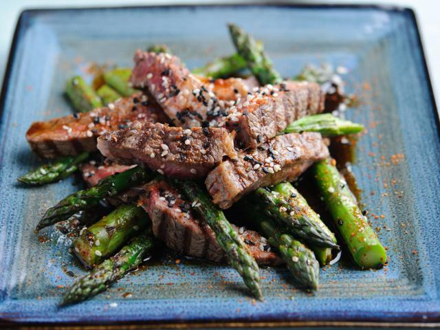 Bbq rib eye, british asparagus and teriyaki sauce