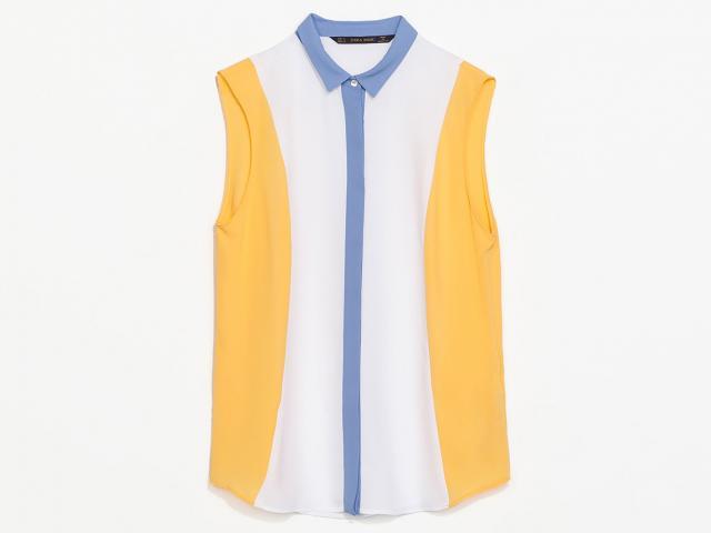 Zara-petite-white-blue-yellow-shirt