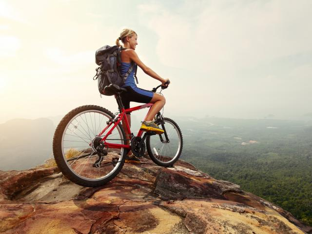 Mountain biking woman
