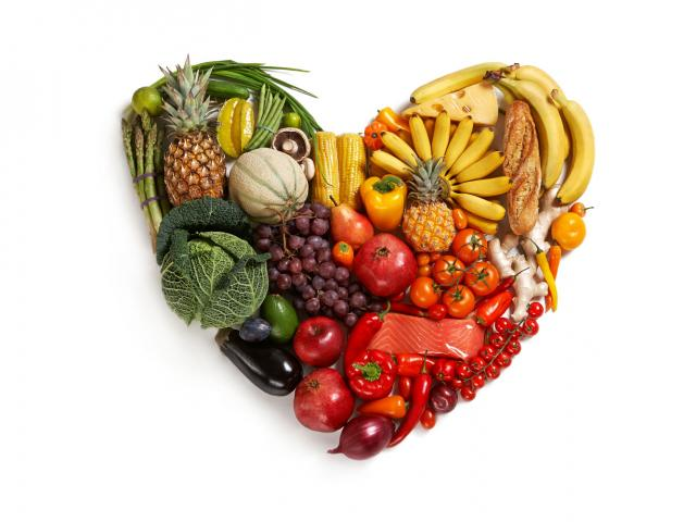 Healthy foods in shape of a heart
