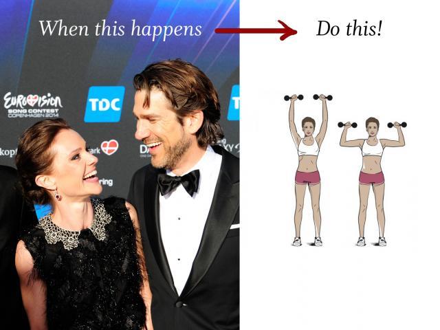 Eurovision hosts flirting shoulder press copy
