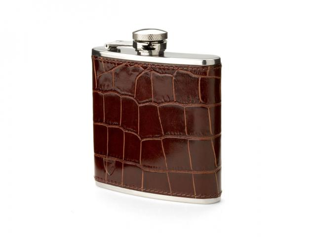 Aspinal of london croc effect hip flask 45