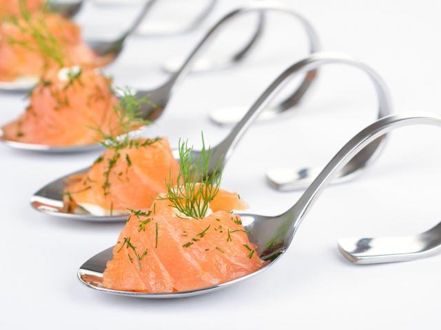Smoked salmon on spoon