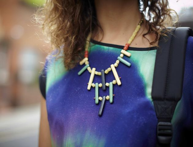 Street style galaxy print statement necklace