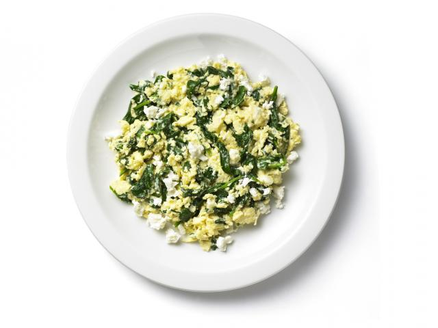 Recovery breakfast scrambled eggs and feta