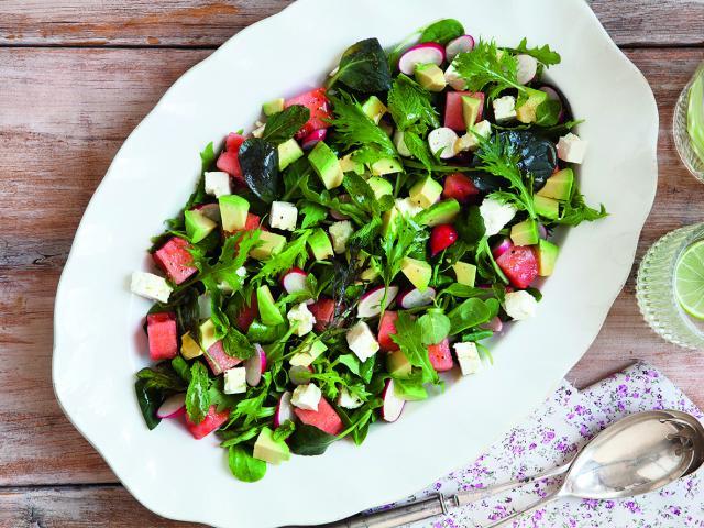 Feta watermelon avocado salad