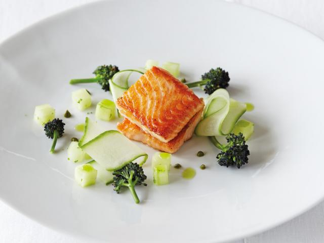 Sea trout with pickle cucumber  tenderstem broccoli