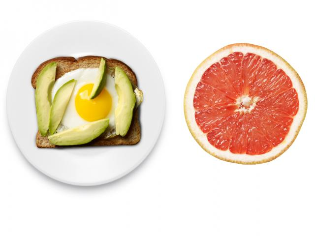 Avocado and egg on toast with grapefruit