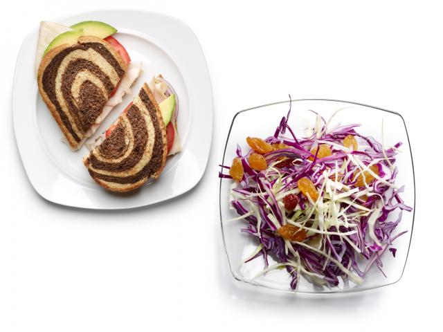 Turkey and avocado sandwich with coleslaw