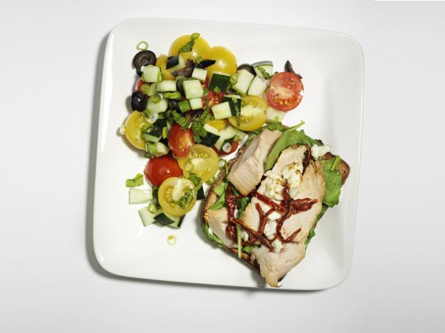 Open turkey and feta sandwich
