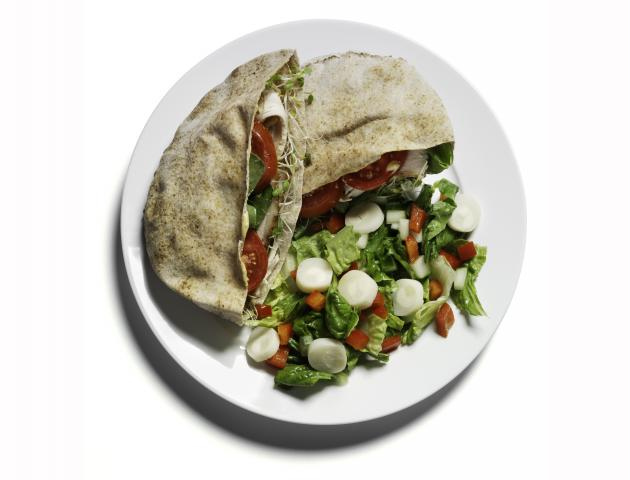 Turkey pitta with salad + strawberries