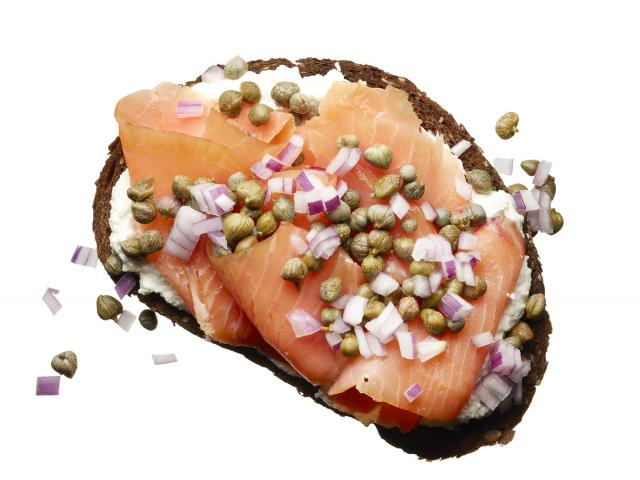Smoked Salmon on pumpernickel bread