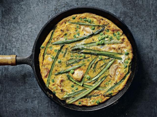 Salmon, pea and asparagus frittata recipe