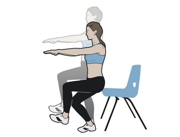 Image result for woman doing Single Leg Squat with chair