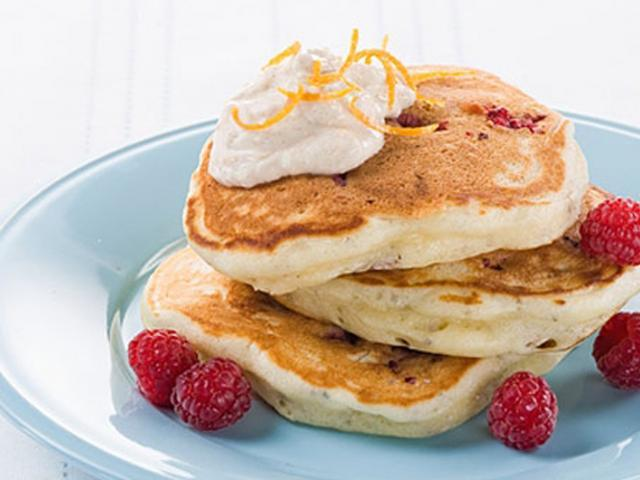Raspberry pancakes with orange cinnamon ricotta  medium 4x3