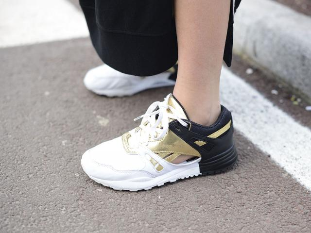 Street style - gym wear - reebok gold and black trainers - womens health uk
