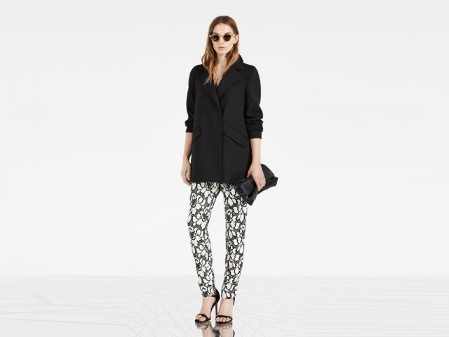 Reiss advert - black jacket and print trousers - apple shape