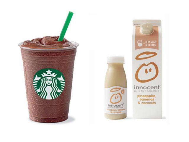 Mocha light - starbucks - healthy breakfasts sugar - innocent smoothie - womens health uk