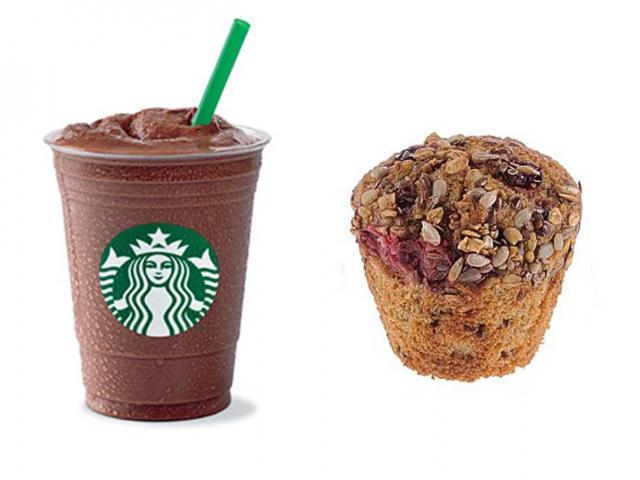 Mocha light - starbucks - healthy breakfasts sugar - pret high fibre muffin - womens health uk