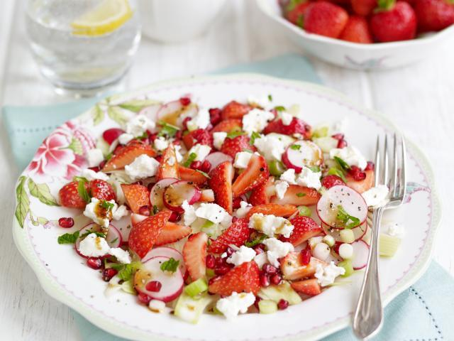 Sweet eve strawberry, pomegranate, fennel, radish and mint salad topped with crumbled feta  medium 4x3-2