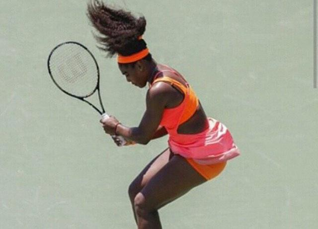 Serena williams -action pose - tennis -gym hair - hair styles - womens health