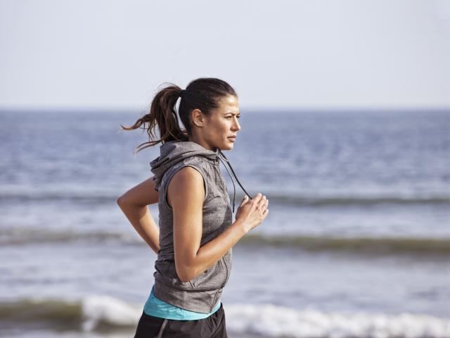 Hpe grey beach running woman