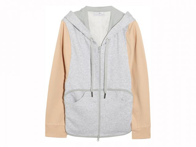 Adidas by stella mccartney two-tone cotton-jersey hooded top