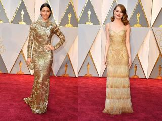 Jessica biel and emma stone in gold dresses at the oscars 2017 - womens health uk