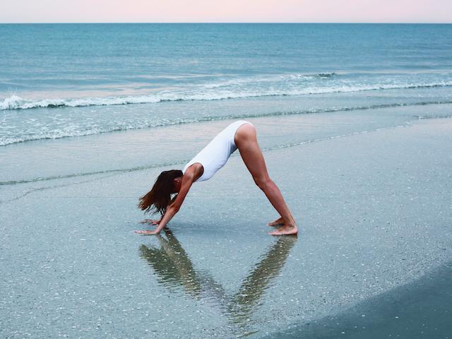Yoga-downward-dog-beach