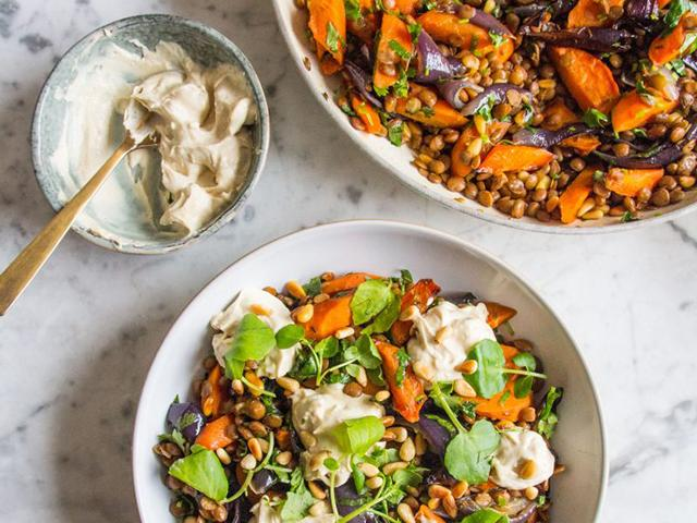Veggie lentil salad-meal prep-Meal Prep: 8 Ways To Use Lentils For A Week Of Healthy Recipes-womens health magazine-2