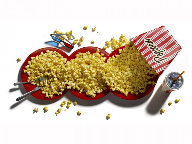 Popcorn, 3d glasses and cinema soft drink