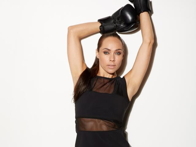Gymluxe black boxing gloves and sheer cutaway top