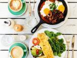 Egg breakfast - shakshuka and omelette from above