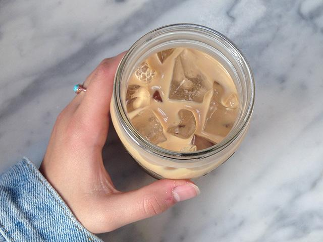Iced latte from above