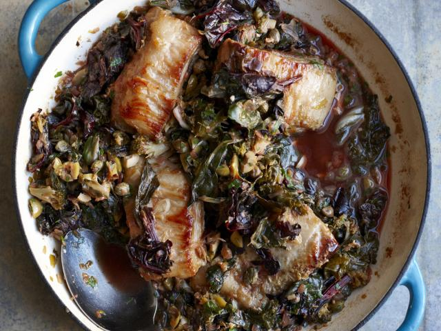 Pork belly with wilted greens recipe