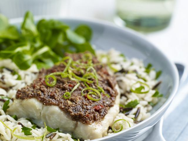 Fillet of coley with almond lime and chilli crust high res