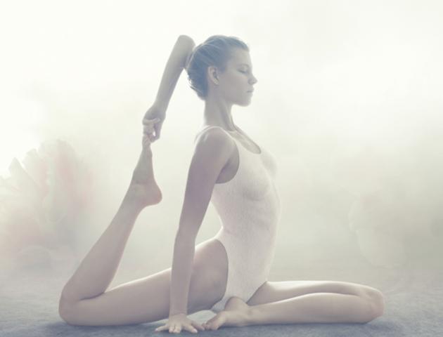 Yoga woman stretching eyes closed - 143176908