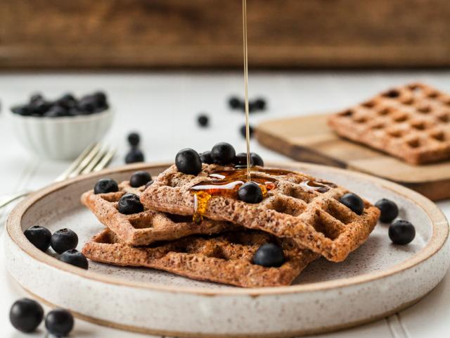 processed foods, waffle blueberries and syrup