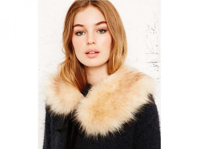 Fur collar in cream