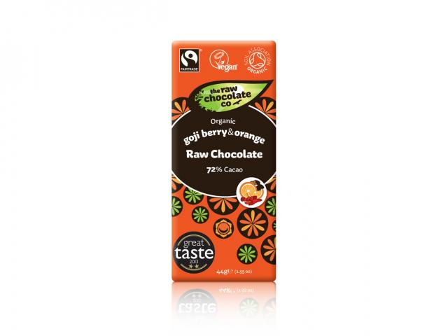 Goji berry and orange raw chocolate