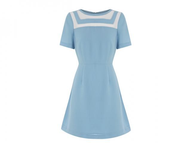 Baby blue organza insert dress Warehouse