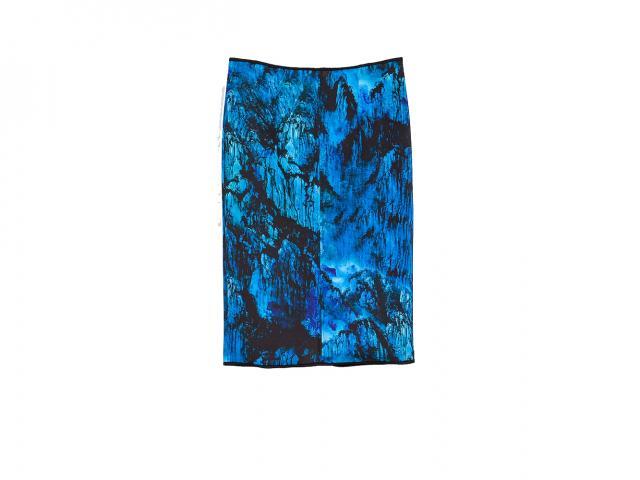 Blue printed skirt Zara