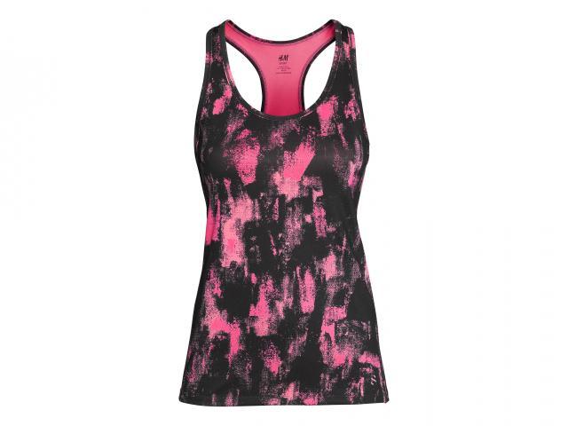 Hm sport black pink vest top